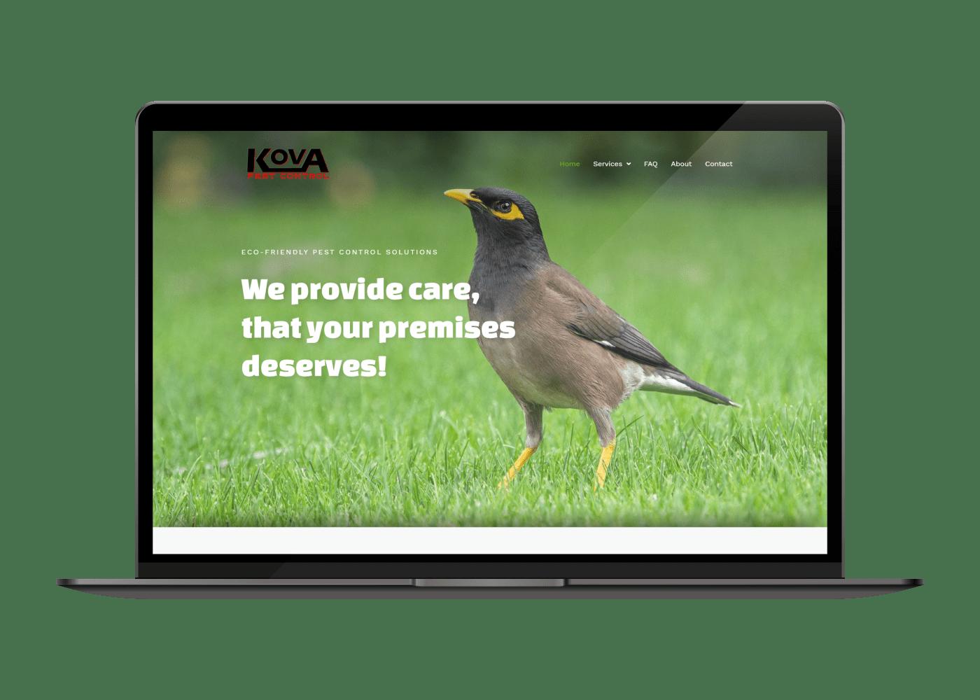 KOVA Pest Control desktop website